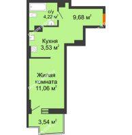 Студия 29,39 м² в ЖК Сердце Ростова 2, дом Литер 8 - планировка