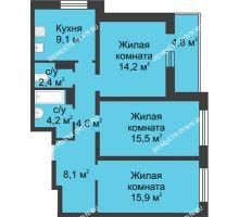 3 комнатная квартира 76,4 м² в ЖК Аквамарин, дом №8 - планировка