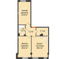 2 комнатная квартира 87,53 м² в ЖК Георгиевский, дом 6 - планировка