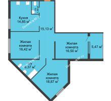 3 комнатная квартира 89,73 м² в ЖК Квартет, дом ГП-227 - планировка