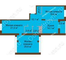 3 комнатная квартира 101,2 м² в ЖК Монолит, дом № 89, корп. 1, 2 - планировка