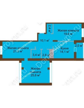 3 комнатная квартира 101,2 м² в ЖК Монолит, дом № 89, корп. 1, 2