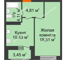 1 комнатная квартира 41,31 м² в ЖК Подкова на Гагарина, дом № 2