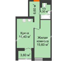 1 комнатная квартира 42,7 м² в ЖК КМ Анкудиновский парк, дом № 15 - планировка
