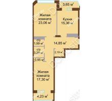 2 комнатная квартира 81,3 м² в ЖК Дворянский, дом № 1 - планировка