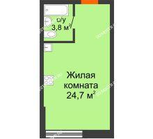 Студия 28,5 м² в ЖК Подкова на Родионова, дом № 2 - планировка