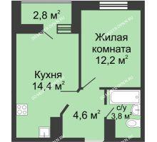 1 комнатная квартира 36,4 м² в ЖК Цветы, дом № 10