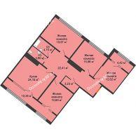 4 комнатная квартира 129,7 м², ЖК Сердце - планировка