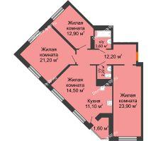 4 комнатная квартира 103,2 м² в ЖК Новая Панорама, дом № 1 - планировка