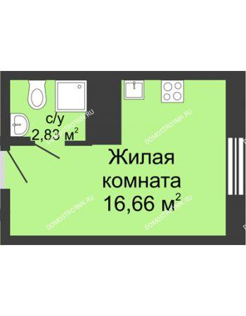 Студия 19,49 м² в ЖК Красная поляна, дом № 6