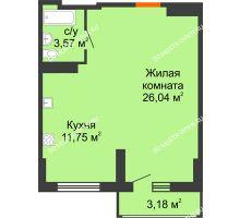 Студия 42,95 м², ЖК Орбита - планировка