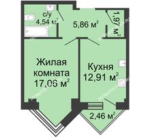 1 комнатная квартира 43,57 м², ЖК С видом на Небо! - планировка