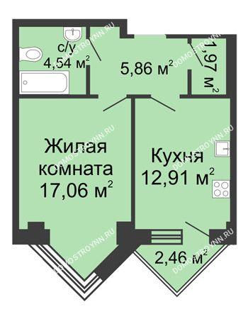 1 комнатная квартира 43,57 м² - ЖК С видом на Небо!