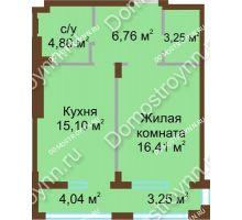 1 комнатная квартира 46,32 м² в ЖК Сердце Нижнего, дом № 36 - планировка
