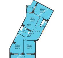 3 комнатная квартира 117,45 м², Клубный дом ГРАН-ПРИ - планировка