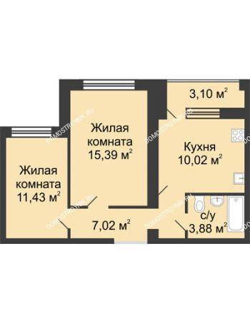 2 комнатная квартира 49,29 м² в ЖК Удачный, дом № 4
