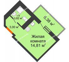 Студия 23,54 м², ЖК Командор - планировка