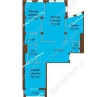 3 комнатная квартира 131,6 м², ЖК Бояр Палас - планировка