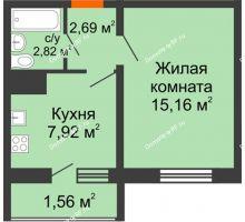 1 комнатная квартира 30,15 м² в ЖК Новая заря, дом Квартал 1, позиция 1 - планировка