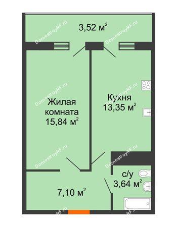 1 комнатная квартира 43,45 м² в ЖК Фамилия, дом Литер 1