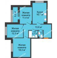 3 комнатная квартира 80,5 м² в ЖК Цветы 2, дом № 7 - планировка