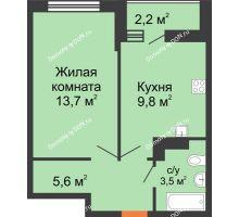 1 комнатная квартира 33,7 м² в ЖК SkyPark (Скайпарк), дом Литер 1, корпус 2 - планировка