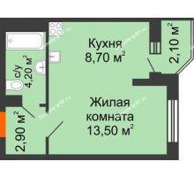 1 комнатная квартира 30,4 м² в ЖК Перспектива, дом Литер 3.5 - планировка