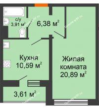 1 комнатная квартира 43,57 м², Жилой дом: №23 в мкр. Победа - планировка