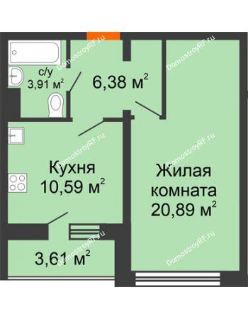 1 комнатная квартира 43,57 м² - Жилой дом: №23 в мкр. Победа