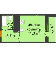Студия 21,9 м², ЖК Космолет - планировка