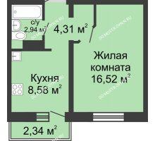 1 комнатная квартира 33,05 м² в ЖК Мончегория, дом № 3 - планировка