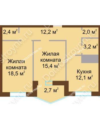 2 комнатная квартира 68,5 м² в ЖК Монолит, дом № 89, корп. 1, 2