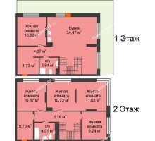 4 комнатная квартира 117,21 м² в ЖК Октябрьский, дом ГП-3 - планировка