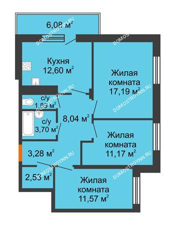 3 комнатная квартира 73,79 м² в ЖК Циолковский, дом № 3
