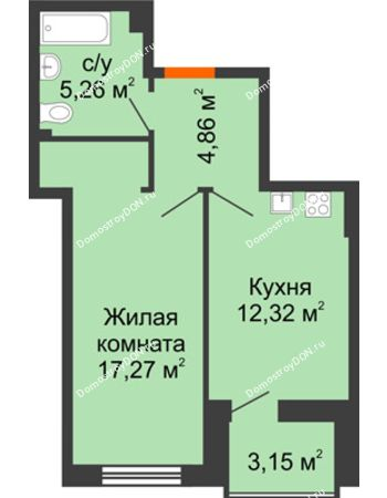 1 комнатная квартира 41,34 м² в ЖК Аврора, дом № 3