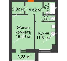 1 комнатная квартира 43,08 м² в ЖК Парк Горького, дом 62/18, № 6 - планировка