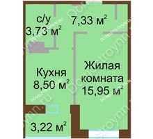 1 комнатная квартира 37,14 м², Жилой дом Каскад на Даргомыжского - планировка