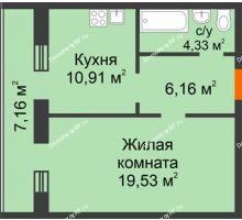 1 комнатная квартира 48,09 м², ЖК Дом на Троицкой - планировка