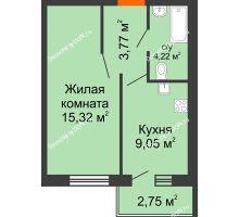 1 комнатная квартира 33,73 м² в ЖК Артемовский квартал, дом Секция 9 - планировка
