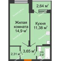 1 комнатная квартира 36,82 м² в ЖК Мандарин, дом 2 позиция 5-8 секция - планировка