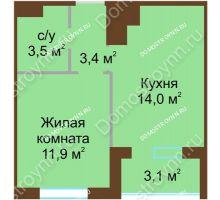 1 комнатная квартира 34,35 м² в ЖК НОВИНКИ Smart City, дом № 21