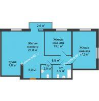 3 комнатная квартира 83,3 м² в Микpopaйoн  Преображенский, дом № 22.3 - планировка