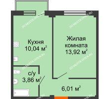 1 комнатная квартира 34,35 м² в ЖК Лайм, дом № 1