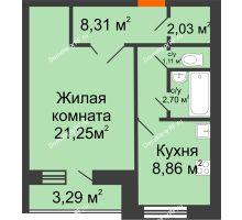 1 комнатная квартира 45,9 м² в ЖК Уютный, дом Позиция 10 - планировка