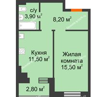 1 комнатная квартира 40,3 м² в Микрорайон Прибрежный, дом № 8 - планировка