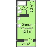 Студия 19,77 м² в ЖК Бурнаковский, дом № 29 - планировка