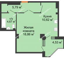 1 комнатная квартира 45,49 м², ЖК Гармония - планировка