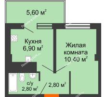 1 комнатная квартира 25,3 м² в ЖК Грин Парк, дом Литер 1 - планировка