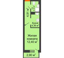 Студия 27,74 м², ЖК Штахановского - планировка