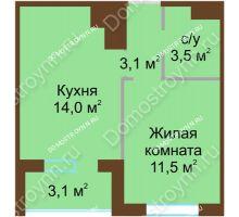1 комнатная квартира 33,65 м² в ЖК НОВИНКИ Smart City, дом № 21